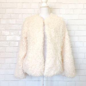 Kensie Cream Soft Furry Shaggy Cardigan Coat